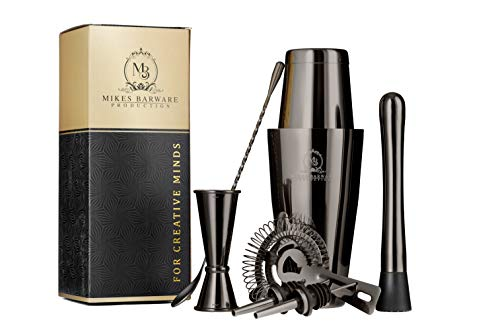 Drink Mixer Shaker Set 8 Piece Bar Set, Boston Stainless Steel 18 and 28ounce Weighted Bottom Boston Tins With Bonus Recipe Guide. Premium Professional Bartender Kit By MB Production(Gun Black Metal)  ()