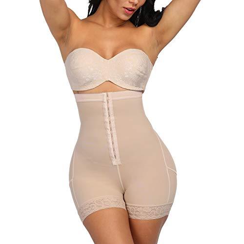 GINVELL Womens Shapewear Tummy Control Shorts Brilliance High-Waist Panty Mid-Thigh Body Shaper Bodysuit Nude S