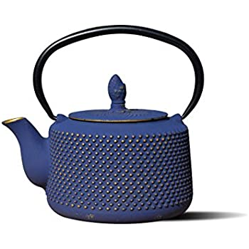 Old Dutch International Matsukasa Cast Iron Teapot, 27 oz, Deep Blue/Gold