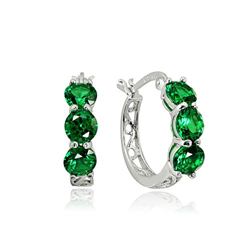 (Sterling Silver Simulated Emerald Round Filigree Three Stone Hoop Earrings)