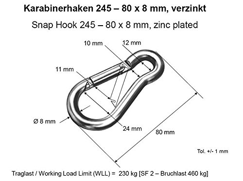 80 mm DIN 5299 verzinkter Stahl 5 St/ück Feuerwehr-Karabinerhaken