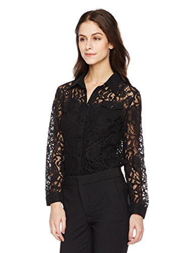 Signature Society Women's Long Sleeve Lace Black Shirt
