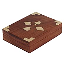 "Halloween Gifts !! 6"" Playing Card Holder Box Double Deck Case Wooden Storage for Adults Kids Seniors"