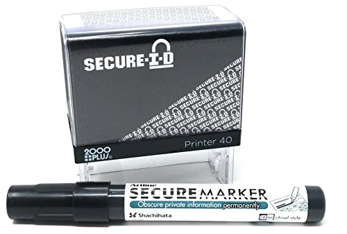 Secure ID and Secure Marker Combo, Identity Theft Block Out Stamp and Marker Combo. Perfect for Blocking Out Confidential Information, Black Case by Imprint 360