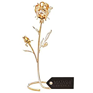 Matashi Everlasting Rose Flower Tabletop Ornament Metal Decorative Home Décor, Gift for Christmas, New Year, Valentines Day, Anniversary, Birthday and More 94