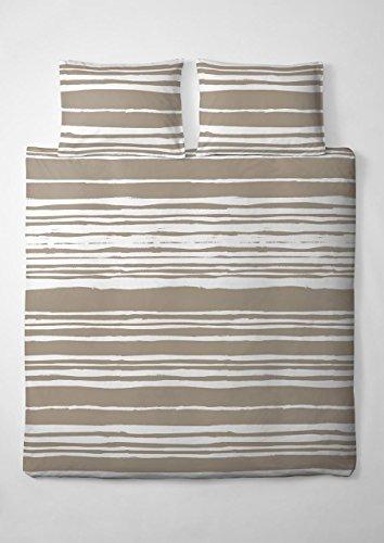 1 tlg. etérea Microfaser Bettwäsche Carola Streifen Gestreift Opal Sand Beige Weiß, 40x80 cm extra Kissenbezug
