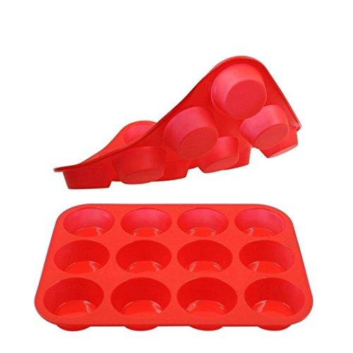 Silicone Muffin Pan, 12 Cup Non-Stick Cupcake Baking Pans – Safe, Reusable, BPA-Free Baker's Tray Soimos by Soimos