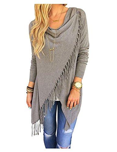 AuntTaylor Ladies Plain Fringe Draped Full Sleeve Poncho Coat Sweater Gray (Ladies Fringe)