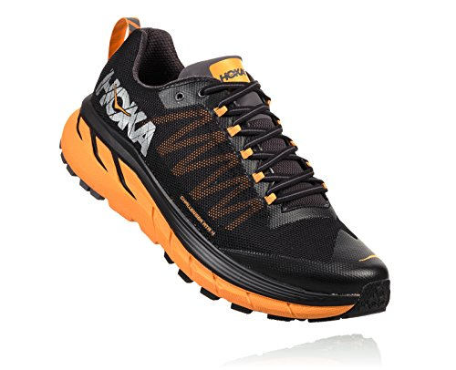 HOKA ONE ONE Men's Challenger ATR 4 Trail Running Shoes (10, Black/Kumquat)
