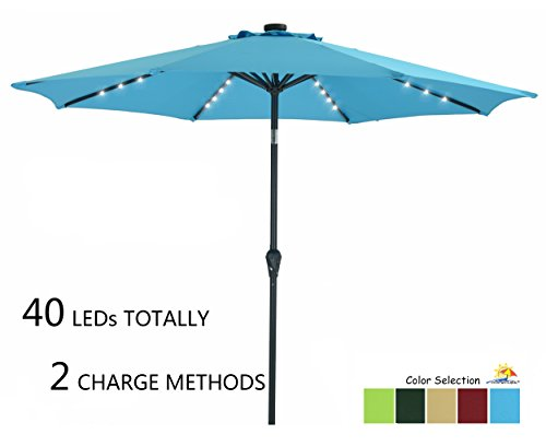 Patio Watcher 9 FT Outdoor Solar Powered Patio Umbrella, 40 LED with 2 Charge Mode(Solar and Adaptor),250GSM Fabric with Push Button Tilt and Crank,Turquoise by Patio Watcher