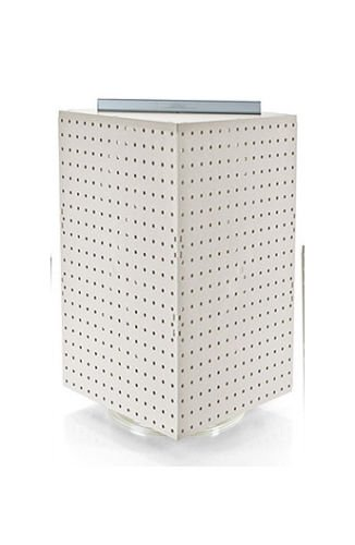New White Interlocking Pegboard 4-sided Revolving Counter Translucent - Kit Interlocking Display