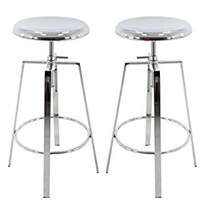 Brage Living 4-Legged Chrome Backless Metal Round Seat Adjustable Height Bar Stools with Footrest (Set of 2) (Chrome)