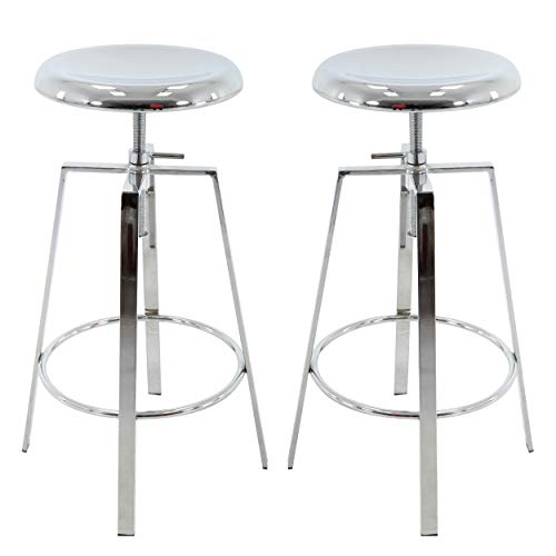 Adjustable Stools Backless - Brage Living Backless Round Seat Adjustable Height Bar Stools (Set of 2) (Chrome)