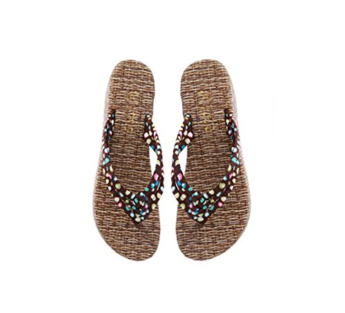 KHSKX-Spring And Summer Beach Female Slippers Straw Sandals Pinch Flat Cake Girl Thirty-six 2W45zxzj
