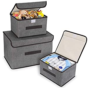DIMJ 3 Pack Storage Boxes with Lids Foldable Storage Organiser Box with Handle Large Storage Bins for Toy, Books, Closet, Bedroom, Home (Grey)