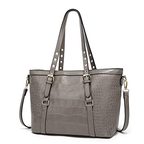 ses and Handbags Work Bags for Women Large Tote Leather Shoulder Satchel Studded Crossbody Bag (Style 1- Grey) ()