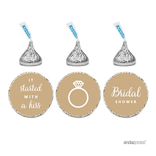Andaz Press Chocolate Drop Labels Trio, Fits Hershey's Kisses, Wedding Bridal Shower, Tan Brown, 216-Pack