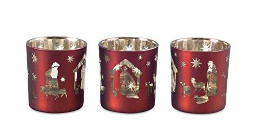 Glass Christmas Nativity Scene Votive Holders Set of 3 Holiday Decoration New