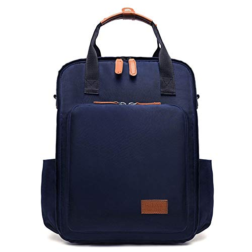 HaloVa Diaper Bag, Mommy Backpack, Large Capacity Baby Nappy Bag, Knapsack for Motherhood Men Women, Waterproof Fabric, Insulated Milk Bottle Pockets, Dark Blue ()