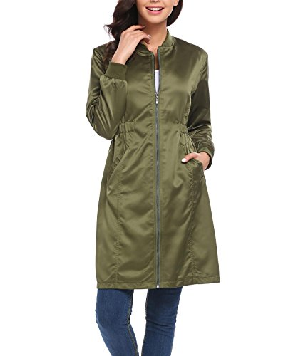 Satin Trench Jacket - Zeagoo Women's Lightweight Windproof Long Satin Jacket Zipper Outwear Trench Coat, Army Green, XX-Large