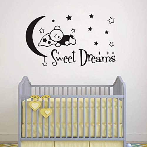Sweet Dreams Wall Decals, Teddy Bear Moon Stars Vinyl Sticker, Animals Wall Decals, Wall Decals for Boy Girl Nursery Baby Decor(Y26)(Large,Black)