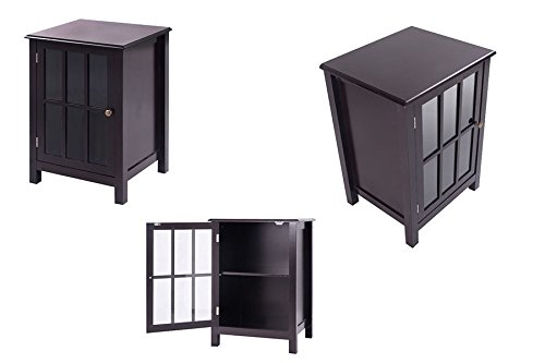 Coffee Home Decor One Door Cabinet Storage Accent Cabinet 2 Shelf Display + eBook from eXXtra Store