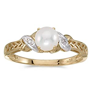 0.01 Carat ctw 10k Gold Round Cream Pearl & Diamond Crossover Infinity Antique Promise Fashion Ring