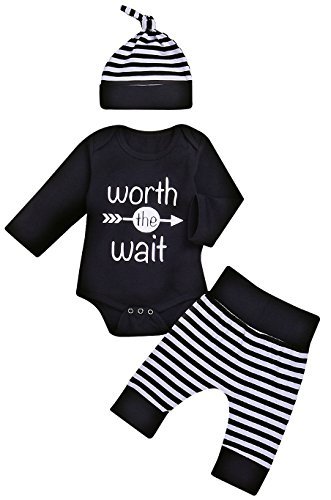 Baby Boy Worth The Wait Arrow Print Striped Pant Hat Outfit (Black, 0-3Months) - Black Outfit