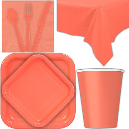 Disposable Party Supplies for 28 Guests - Coral - Square Dinner Plates, Square Dessert Plates, Cups, Lunch Napkins, Cutlery, and Tablecloths: Premium Quality Tableware Set