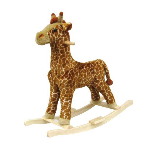Handcrafted Plush Giraffe Rocking Animal on Wood Rockers