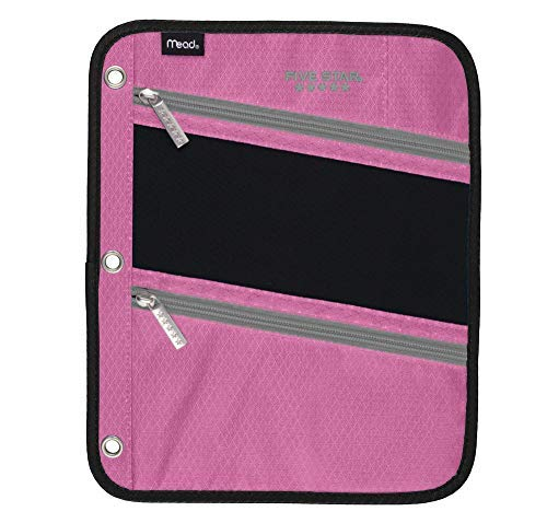 Five Star Zipper Pouch, Pencil Pouch, Pen Holder, Fits 3 Ring Binders (Pink/Grey) ()