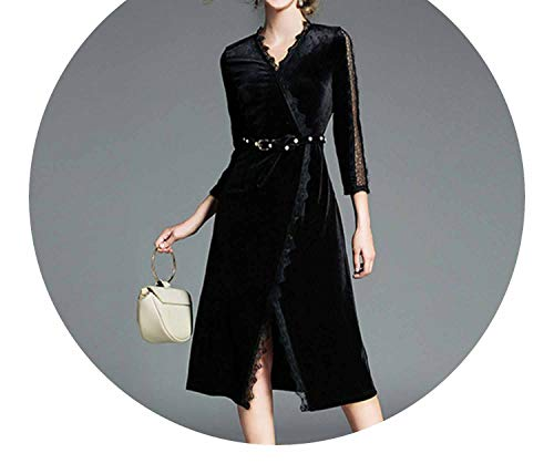 Elegant Women Black Lace Velvet Dress Vestidos Mujer Invierno with Pearl Belt Robe Hiver 173,Black,L