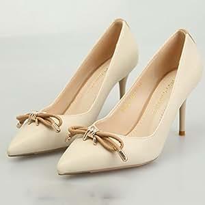 YIXINY Zapatos de tacón 8-13-8827-7 Moda De Primavera Bowknot Fine Talón del Zapato Poco Profundo Boca Sra Zapatos De Tacón Alto (Color : Negro, Tamaño : EU38/UK5.5/CN38)
