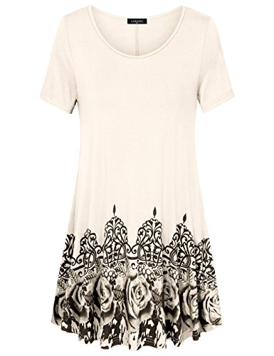 Laksmi Rose Print Scoop Neck Loose Fit Flow Top