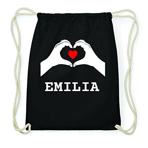 JOllify EMILIA Hipster Turnbeutel Tasche Rucksack aus Baumwolle - Farbe: schwarz Design: Hände Herz