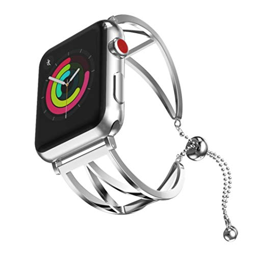 Price comparison product image Fashion Women Sun Moon Crescent Crystal Bracelet Band Strap for Apple Watch 1 / 2 / 3 42mm (fashion Silver)