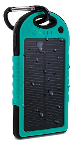 Aduro PowerUp Solar Powered Rugged Backup Battery W/ Dual USB Ports, IPX4 Certified Water Resistant, Shock Proof, Dirt Proof, Snow Proof. 6000 mAh, 30+ Hrs Talk Time Added (Turquoise/Black)