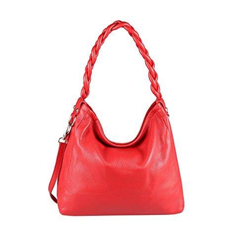 Made Italy - Bolso de tela de cuero para mujer Rojo