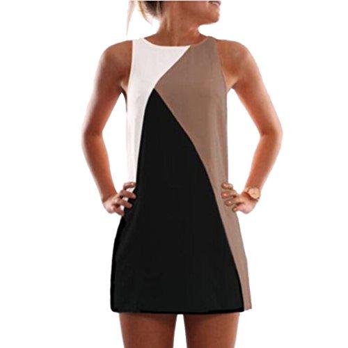 CeRui Color De La Colisión Mujeres Del Vestido De Costura Geométrico Un Vestido De Línea
