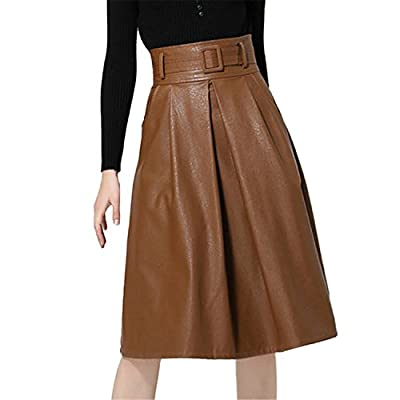 KennsGations Soft PU Leather Skirt Women Casual Faux Leather Skirts A-Line Female Short Skirts with Sash