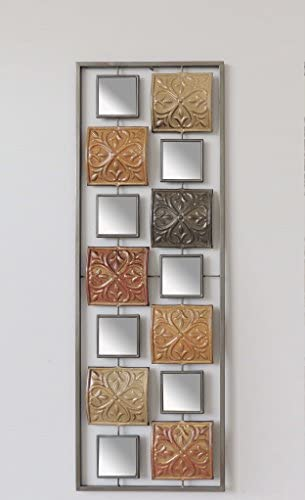 New All American Collection Modern Chic Aluminum Metal Wall Decor with Frame 12 x36 Metal Squares and Mirrors