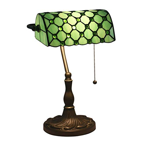 Marching orchid Eye Protection Table Lamp, Antique Style Emerald Green Glass Desk Light Fixture, Metal Lamp Body, Glass Lampshade, Rope Switch