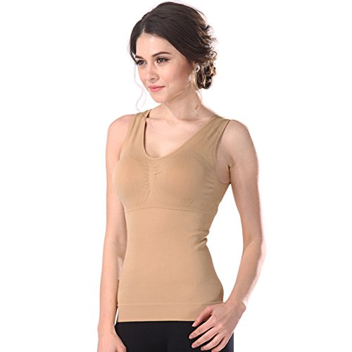 - Women's Cami Shaper Tank Top with Built in Removable Bra Body Shaper Camisole (Khaki, Large)