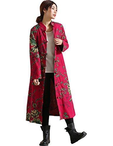 IDEALSANXUN Women's Cotton Linen Vintage Floral Print Lightweight Trench Coat Long Button Down Jacket Robe (Small, 1 Purple Red) (Farm Red Coat)