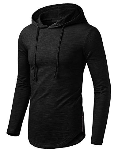 Cool Hooded Long Sleeve (HEMOON Men's Hipster Hip Hop Long Sleeve Round Hemline Hooded T-Shirt Tops Black M)