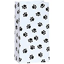 50/set Paw Print Black and White - All-occasion Paper Favor Bags - 4 Pound - 5 Inch x 3-1/8 Inch x 9-5/8 Inch