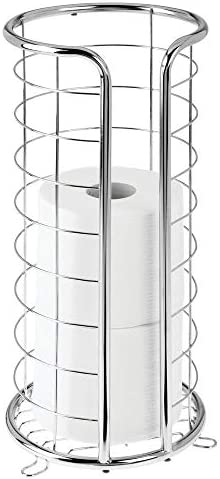mDesign Decorative Metal Free Standing Toilet Paper Holder Stand with Storage for three Rolls of Toilet Tissue - for Bathroom/Powder Room - Holds Jumbo Rolls - Chrome