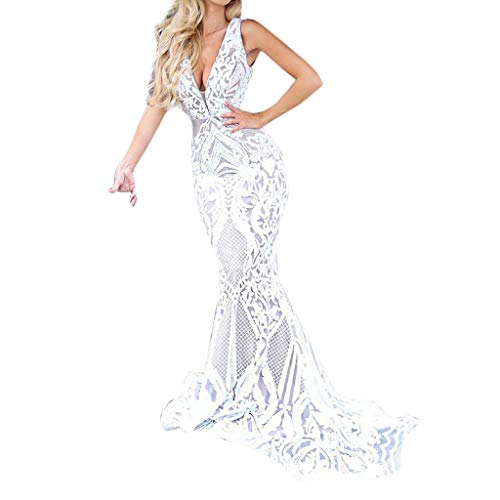 Mermaid Sleeveless Floor - Usstore  Women Lace Maxi Dress Sexy V-Neck Sleeveless Mermaid Mesh Yarn Wedding Party Prom Photograph Floor Gown (XL, White)