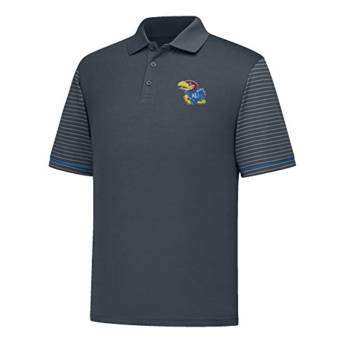 J America NCAA Kansas Jayhawks Men's Linebacker Ii YB Dyed Color Bock Polo Shirt, X-Large, Charcoal/Royal