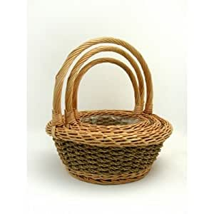 CB Imports Seagrass Baskets Round With Handle Plastic Lined